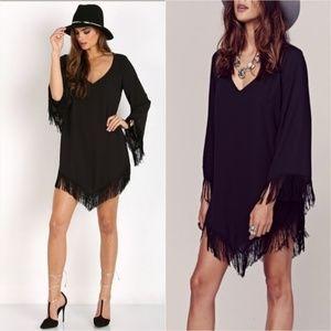 Show Me Your Mumu Rodeo Dress Fringe S Black Crisp